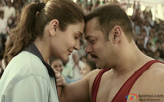 Anushka Sharma and Salman Khan in a still from movie 'Sultan'