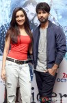 Shraddha Kapoor and Shahid Kapoor during the Haider's press meet in Bangalore Pic 1